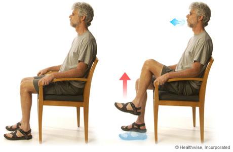 Foto de un paciente practicando levantamiento de piernas