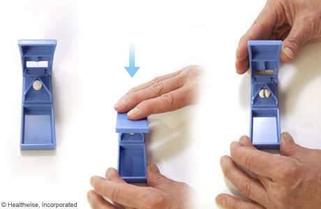 Pictures of using a pill splitter
