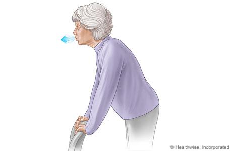 Imagen de la respiración con los labios fruncidos mientras se inclina hacia adelante