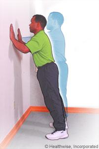 Flexiones de brazos contra la pared
