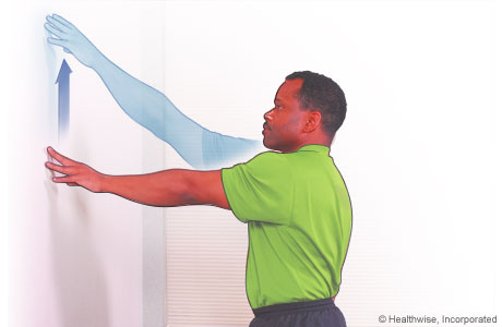 Shoulder exercise: Wall-climbing to the front