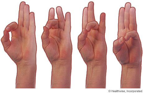 Finger-touch hand exercises for osteoarthritis