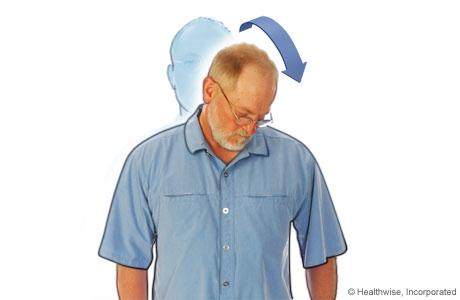 Estiramiento de cuello en diagonal para aliviar la fatiga y los dolores de cuello