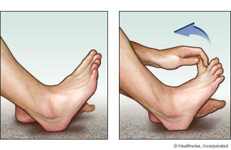Estiramiento del dedo del pie para la planta del pie