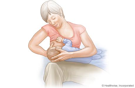 Cross-cradle hold for breastfeeding