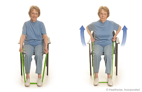 Seated exercise: Rowing with elastic bands