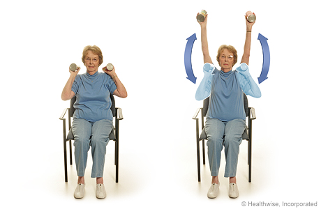 Seated exercise: Arm raises with soup cans