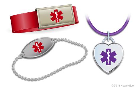 Three examples of medical alert bracelets