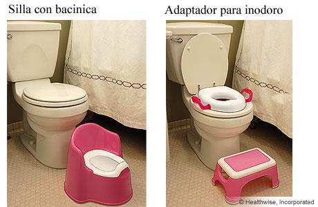 Dos tipos de asientos para inodoros para niños pequeños
