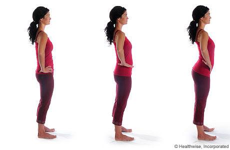 Imagen de cómo hacer el ejercicio de balanceo pélvico de pie