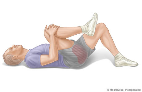 Imagen del ejercicio de rodillas al pecho