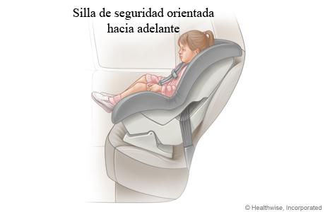 Niña en una silla de seguridad para el automóvil orientada hacia adelante