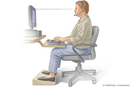 Postura sentada correcta para escribir con teclado